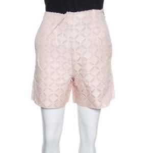 Roland Mouret Pearl Pink Laser Cut High Waist Kelston Shorts S