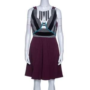 Roland Mouret Multicolor Crepe Basket Weave Bodice Derya Dress L