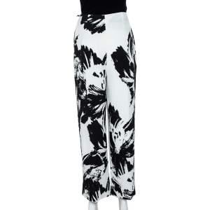 Roland Mouret Monochrome Printed Cloque Pleated Wide Leg Meltham Pants M