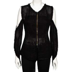 Roland Mouret Black Linen Mesh Cutout Sleeve Detail Jacket M