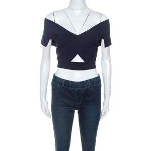 Roland Mouret Navy Blue Knit Tyres Cropped Top L