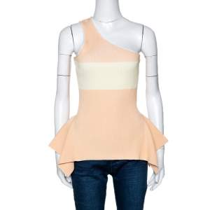 Roland Mouret Peach Rib Knit Macan One Shoulder Top L