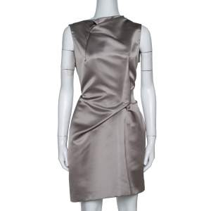 Roland Mouret Limited Edition Taupe Satin Zonda Mini Dress L