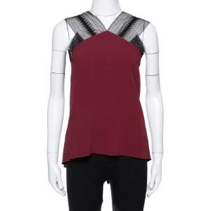 Roland Mouret Limited Edition Burgundy Crepe Lace Trim Dave Top S