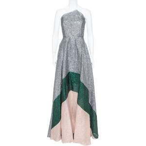 Roland Mouret Silver Crushed Organza Silk Panelled Strapless Lucia Gown M