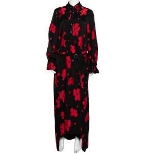 Roland Mouret Black & Red Floral Jacquard Belted Layered Dress M