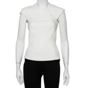 Roland Mouret White Crepe Cutout Detail Panelled Florence Top S