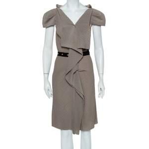 Roland Mouret Beige Crepe Draped Effect Belted Midi Dress M