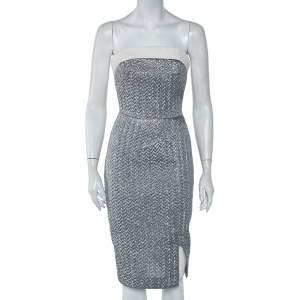 Roland Mouret Silver Embossed Lurex Strapless Ambrose Dress S