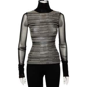 Roland Mouret Black Textured Knit Cutout Detail Turtle Neck Top S