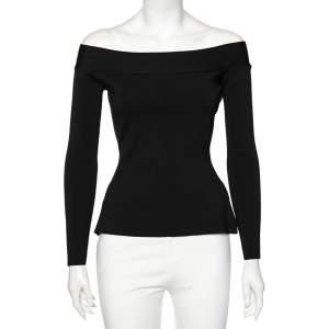 Roland Mouret Black Knit Tasso Off-Shoulder Top S