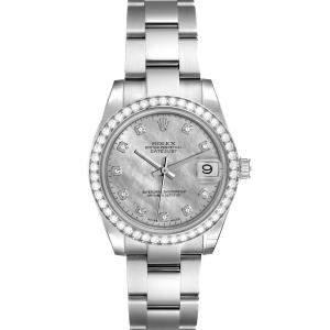 Rolex Silver Diamonds 18K White Gold Datejust 178384 Women's Wristwatch 31 MM