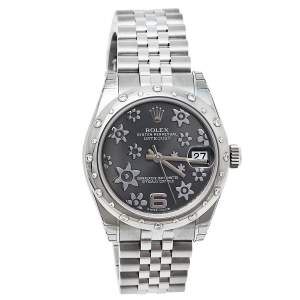 Rolex Grey 18K White Gold & Stainless Steel Diamond Datejust 31 178344 Women's Wristwatch 31 mm
