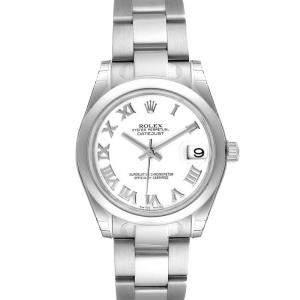 ساعة يد نسائية رولكس ديت جست 178240 ستانلس ستيل بيضاء 31 مم