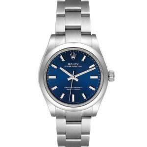 ساعة يد نسائية رولكس أويستر بيربتشوال أوتوماتيك 277200 ستانلس ستيل زرقاء 31مم