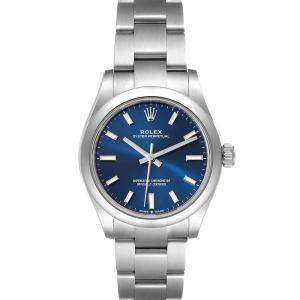 Rolex Blue Stainless Steel Oyster Perpetual Automatic 277200 Women's Wristwatch 31 MM