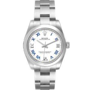 Rolex White Stainless Steel Oyster Perpetual 177200 Women's Wristwatch 31 MM