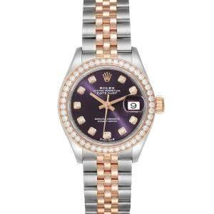 Rolex Aubergine Diamonds 18K Rose Gold And Stainless Steel Datejust 279381 Women's Wristwatch 28 MM
