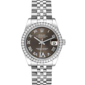 Rolex Bronze Diamonds Stainless Steel Datejust 178384 Women's Wristwatch 31 MM