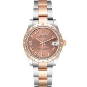 Rolex Salmon Diamonds 18K Rose Gold And Stainless Steel Datejust 278341 Women's Wristwatch 31 MM