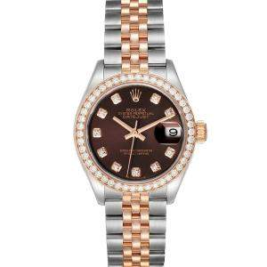 Rolex Brown 18K Rose Gold And Stainless Steel Datejust 279381 Women's Wristwatch 28 MM