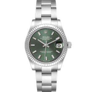 Rolex Mint Green 18k White Gold And Stainless Steel Datejust 278274 Women's Wristwatch 31 MM