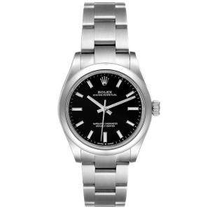 Rolex Black Stainless Steel Oyster Perpetual Automatic 277200 Women's Wristwatch 31 MM