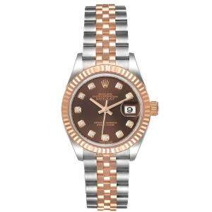 Rolex Chocolate Diamonds 18K Rose Gold And Stainless Steel Datejust 279171 Women's Wristwatch 28 MM