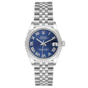 Rolex Blue 18k White Gold And Stainless Steel Datejust 278274 Women's Wristwatch 31 MM
