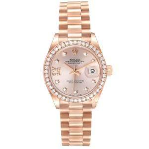 Rolex Salmon Diamonds 18k Rose Gold President 279135 Women's Wristwatch 28 MM