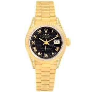 Rolex Black Pyramid 18K Yellow Gold President Crown Women's Wristwatch 26MM