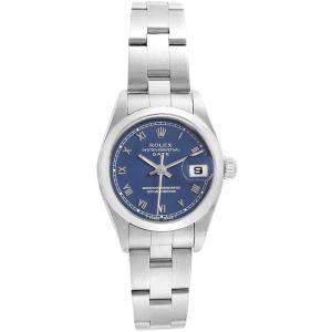 Rolex Blue Stainless Steel Date 69160 Women's Wristwatch 26MM
