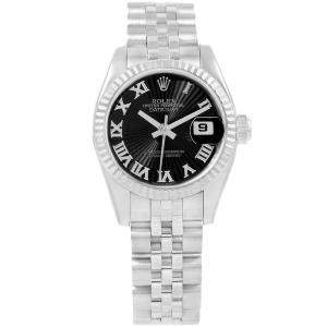 Rolex Black Sunbeam 18K White Gold and Stainless Steel Datejust 179174 Women's Wristwatch 26MM