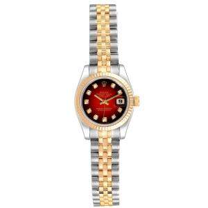 Rolex Red 18K Yellow Gold Diamond and Stainless Steel Datejust 179173 Women's Wristwatch 26MM