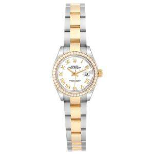 Rolex White Diamonds 18K Yellow Gold Stainless Steel Datejust 279383 Women's Wristwatch 28 MM
