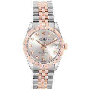 Rolex Silver Diamonds 18K Rose Gold Stainless Steel Datejust 178341 Women's Wristwatch 31 MM