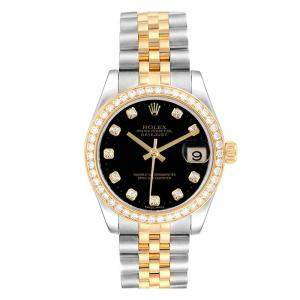 Rolex Black Diamonds 18K Yellow Gold Stainless Steel Datejust 178383 Women's Wristwatch 31 MM