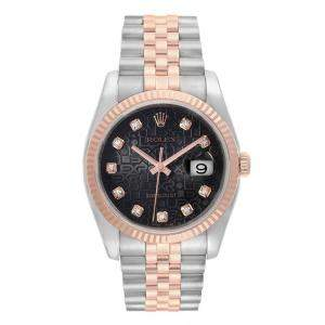 Rolex Black 18K Rose Gold Stainless Steel Datejust Automatic 116231 Women's Wristwatch 36 MM