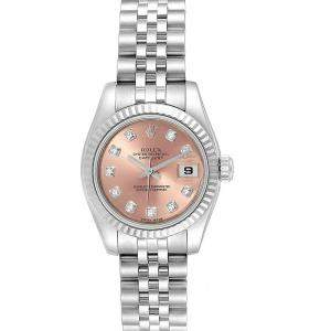 Rolex Salmon Diamonds 18K White Gold Stainless Steel Datejust 179174 Women's Wristwatch 26 MM