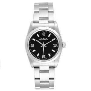 ساعة يد نسائية رولكس أويستر بربيتوال 77080 ستانلس ستيل سوداء 31 مم