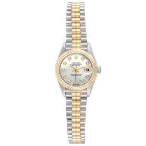 Rolex MOP Diamonds 18K Yellow Gold President Datejust 69179 Women's Wristwatch 26 MM