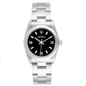 Rolex Rolex Black and Stainless Steel Oyster 77080 Women's Wristwatch 31MM