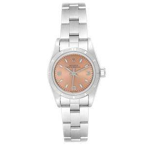 Rolex Salmon and Stainless Steel Oyster Perpetual 67230 Women's Wristwatch 24MM