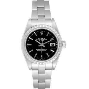 Rolex Black Stainless Steel Date 79240 Women's Wristwatch 26MM