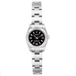 Rolex Black Stainless Steel Non-Date 176200 Women's Wristwatch 24MM