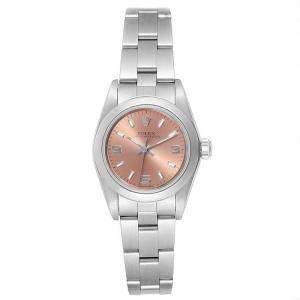 Rolex Salmon Stainless Steel Oyster Perpetual 67180 Women's Wristwatch 24MM