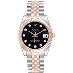 Rolex Black 18K Rose Gold Diamond and Datejust 178271 Women's Wristwatch 31MM