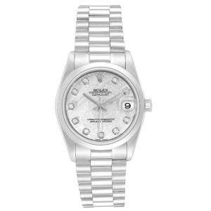 Rolex Silver Dimaonds Platinum Oyster Perpetual 68279 Women's Wristwatch 31 MM