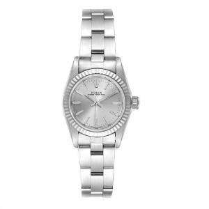 Rolex Silver 18K White Gold Stainless Steel Oyster Perpetual 67194 Women's Wristwatch 24MM
