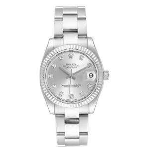 Rolex Silver 18K White Gold Diamond and Stainless Steel Datejust 178274 Women's Wristwatch 31MM